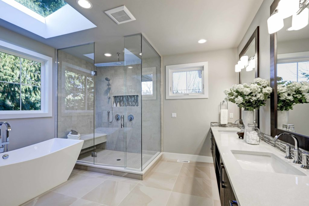 Modern bathroom in grey and white with an EcoGard Rooflight